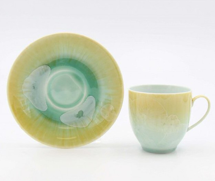 Crystalline Light Amber and Green Coffee Mugs and Saucers, Set of 4