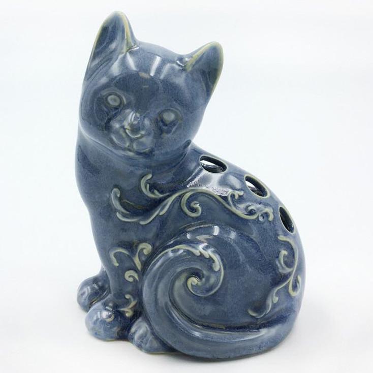 Miniature Blue Glazed Cat Porcelain Sculptures, Set of 4