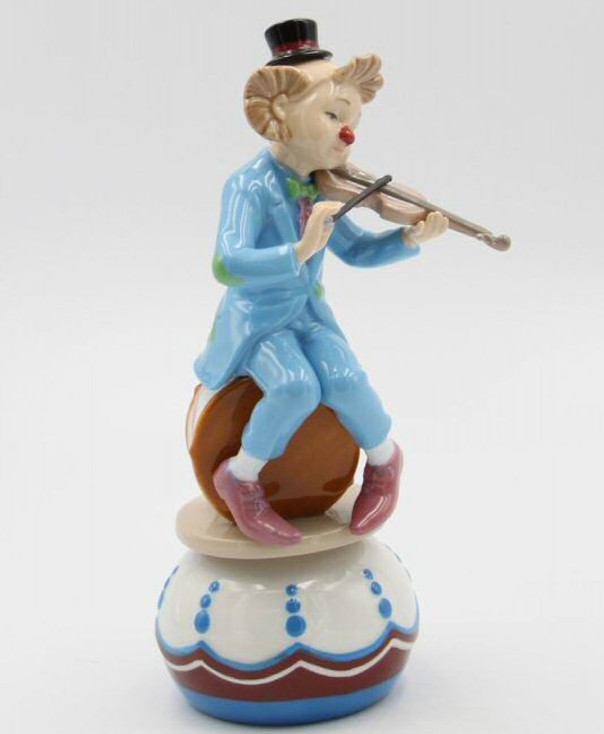 Clown Playing the Violin Porcelain Musical Music Box Sculpture
