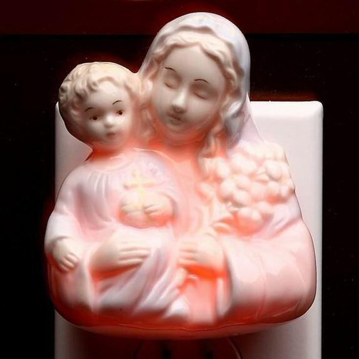 Madonna Holding Baby Plug-in Porcelain Night Lights, Set of 2