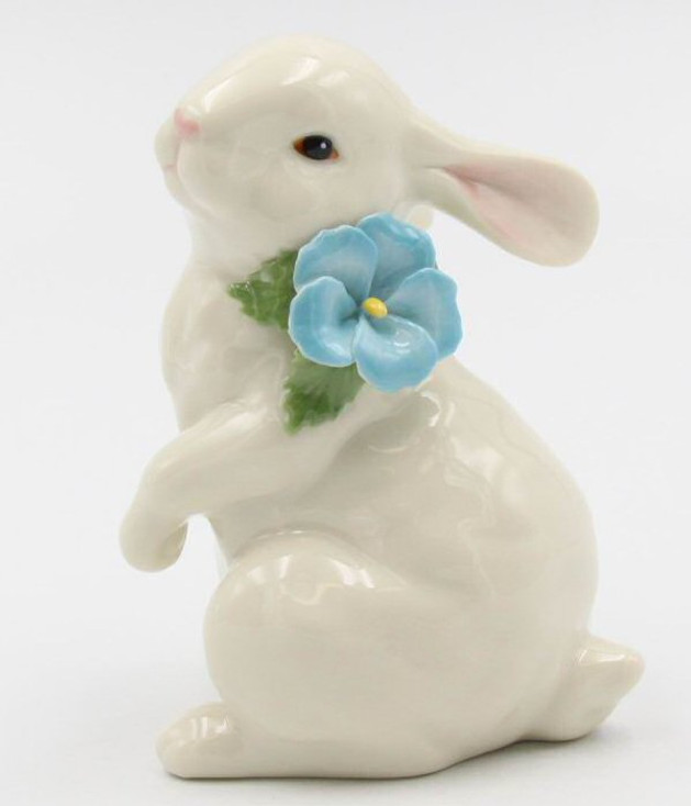 Standing Bunny Rabbit with Flower Porcelain Sculpture