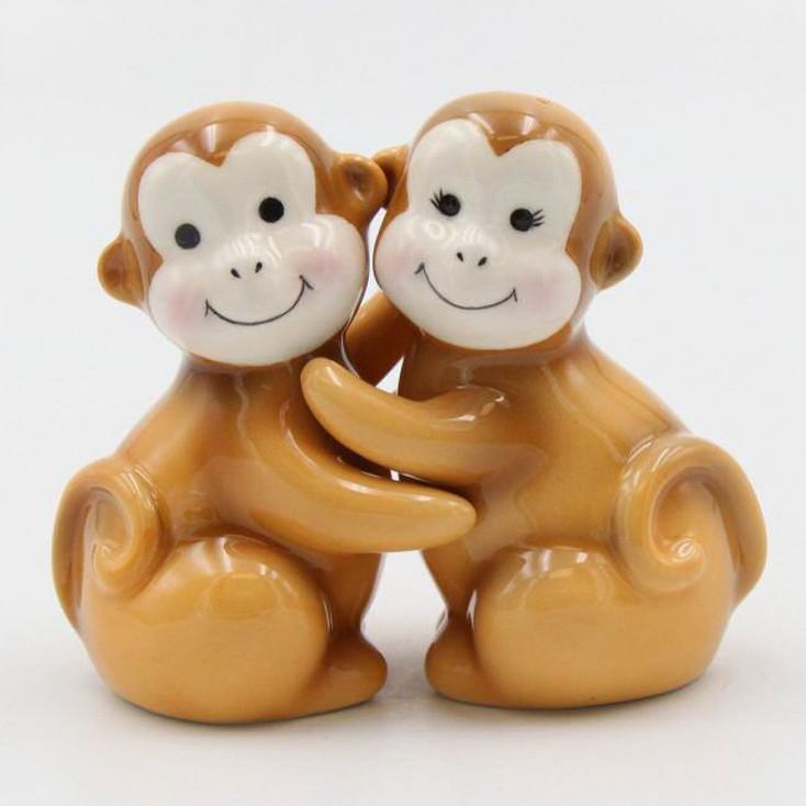 Brown Monkey Porcelain Salt and Pepper Shakers, Set of 4
