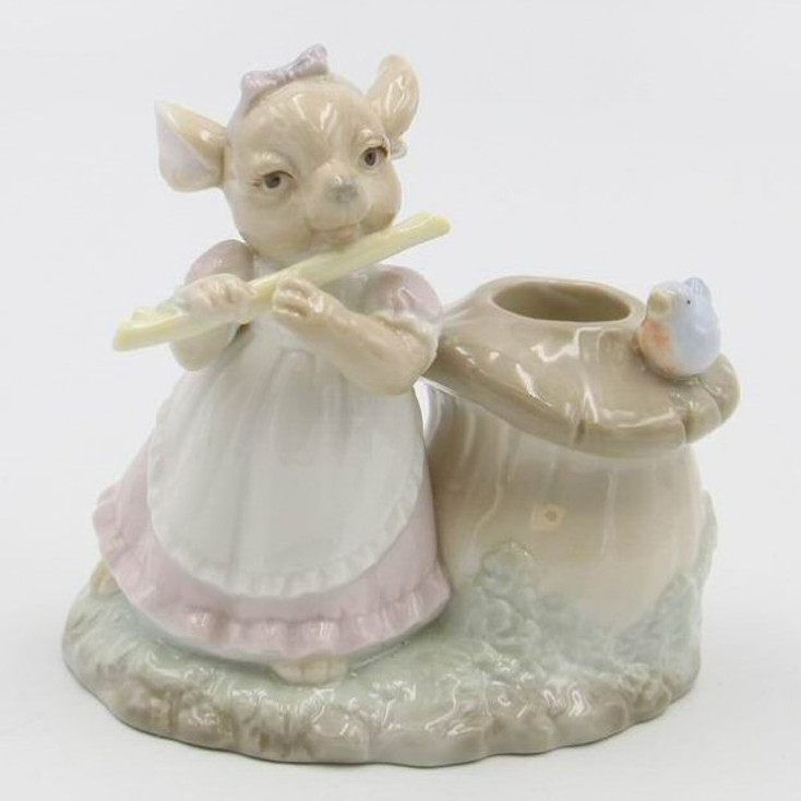 Mouse and Mushroom Porcelain Taper Candle Holders, Set of 4