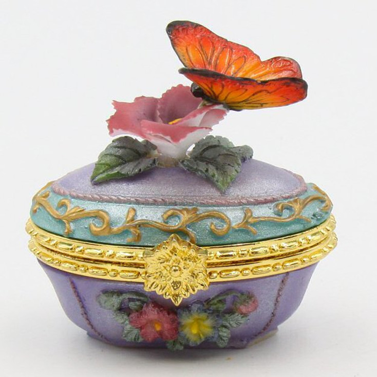 Butterfly on Pansy Flower Porcelain Hinged Trinket Boxes, Set of 4