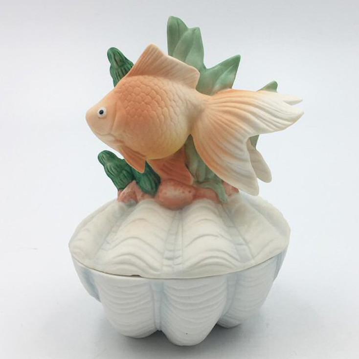 Goldfish Porcelain Trinket Boxes, Set of 2