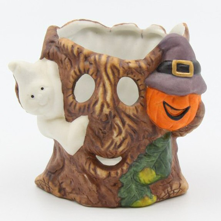 Halloween Witch and Ghost Porcelain Votive Candle Holders, Set of 4