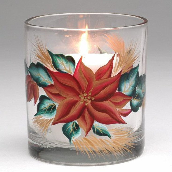 Poinsettia Glass Votive Cup Candle Holders, Set of 8
