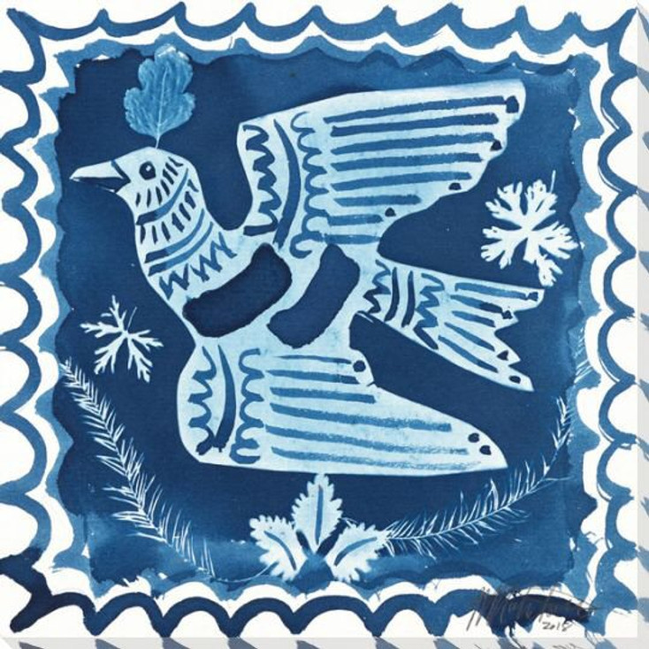 Folk Bird Right Wrapped Canvas Giclee Art Print Wall Art