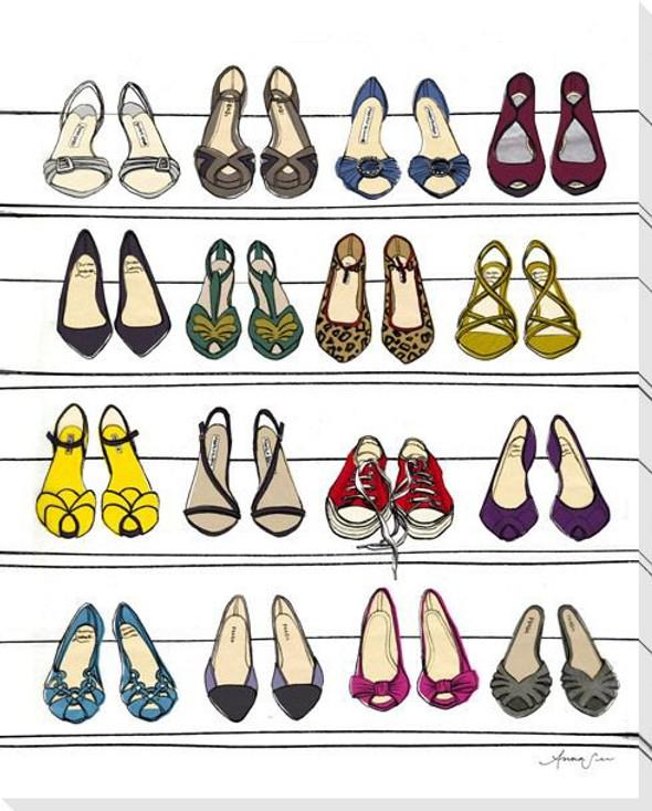 Dream Shoe Closet Wrapped Canvas Giclee Art Print Wall Art