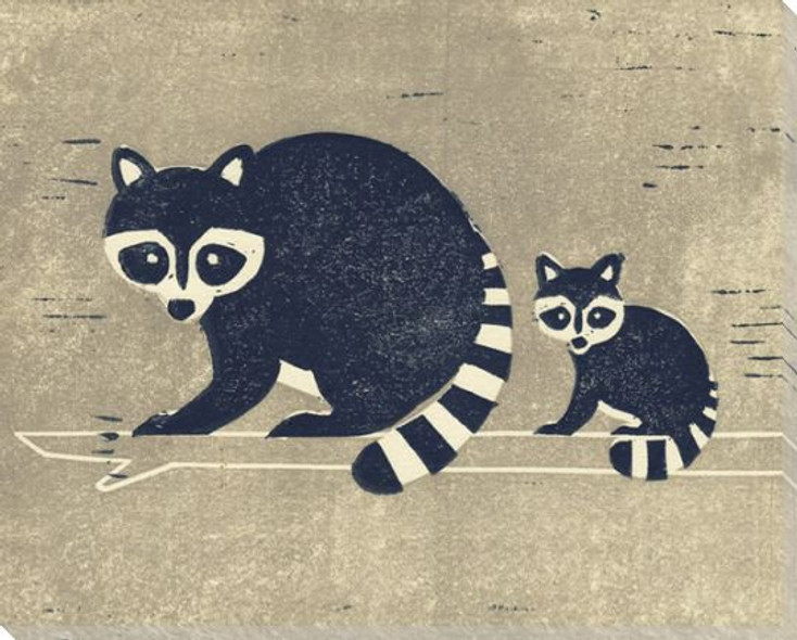 Raccoons Wrapped Canvas Giclee Art Print Wall Art