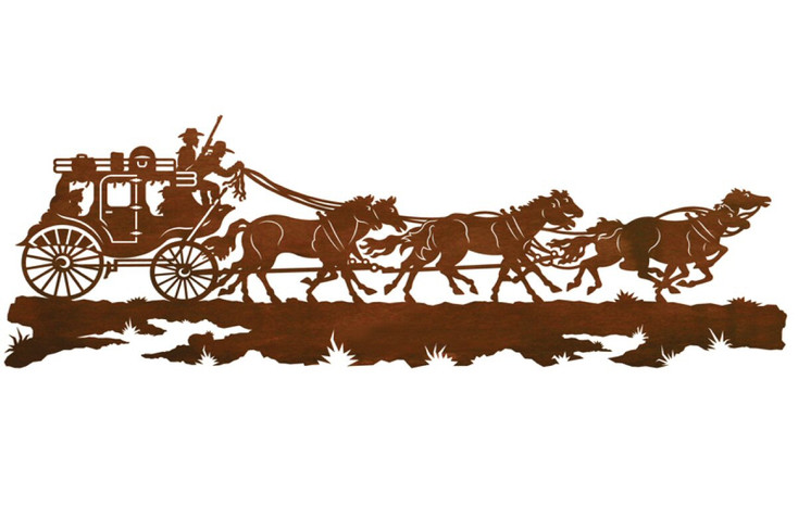"""57"""" Stagecoach with Horses Metal Wall Art"""