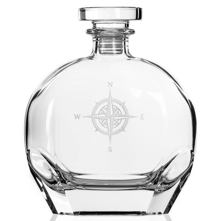 Compass Rose Glass Whiskey Decanter