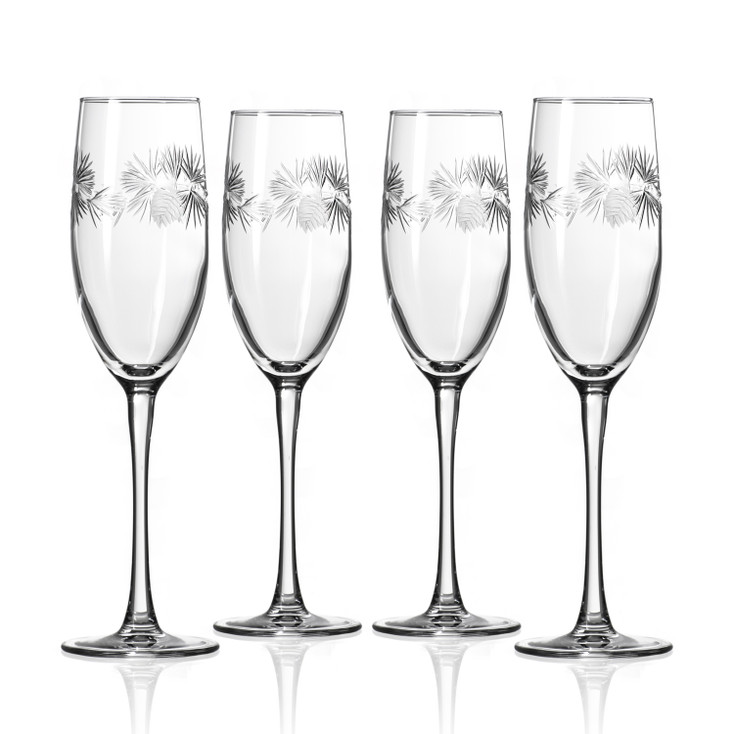 Icy Pine Champagne Flute Glasses, Set of 4