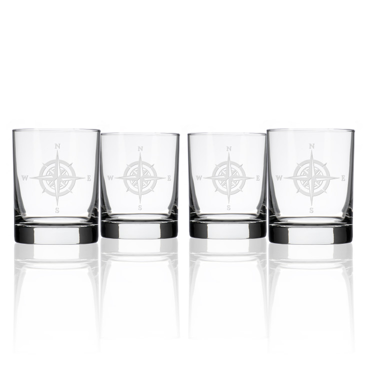 Compass Rose Double Old Fashioned Glasses, Set of 4