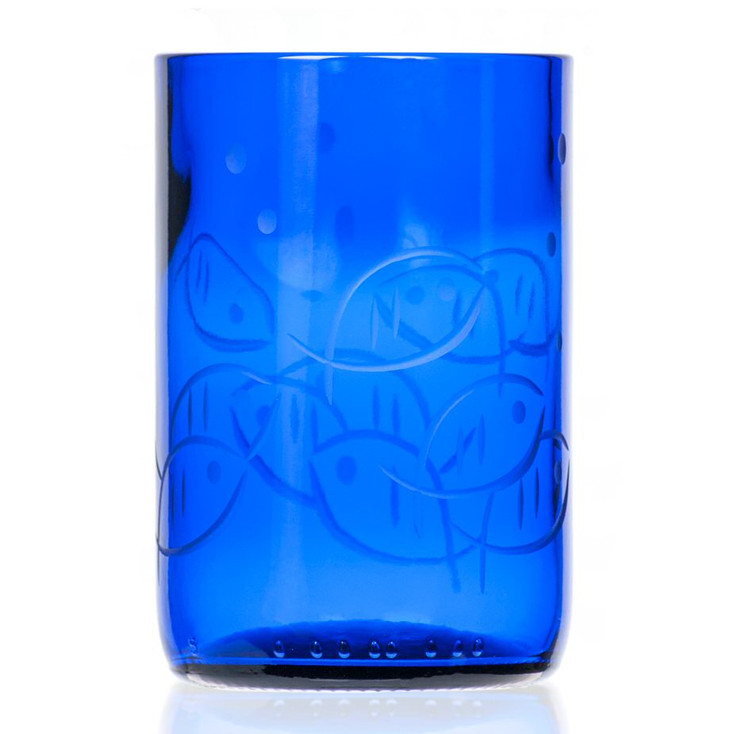 Blue Fish Tumbler Glasses, Set of 4