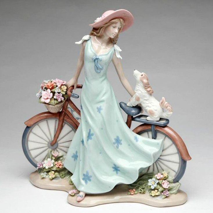 Riding Bike with My Best Friend Woman and Dog Porcelain Sculpture