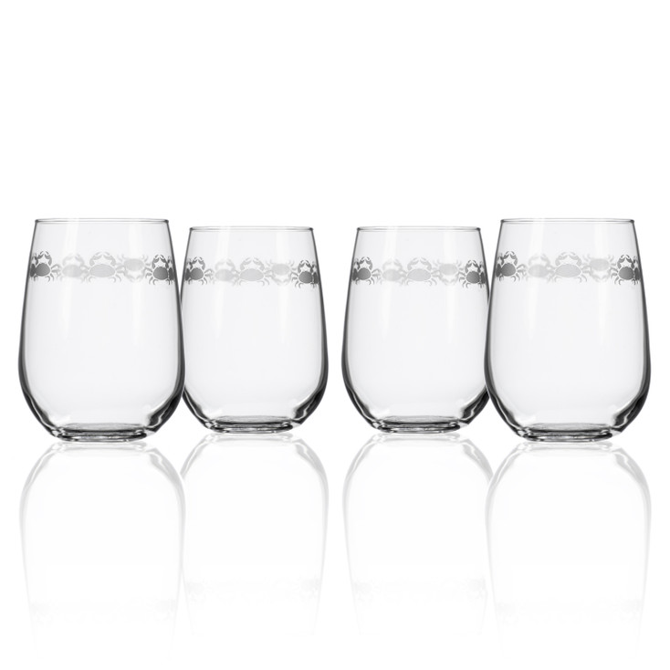 Cast of Crabs Stemless Wine Glass Goblets, Set of 4