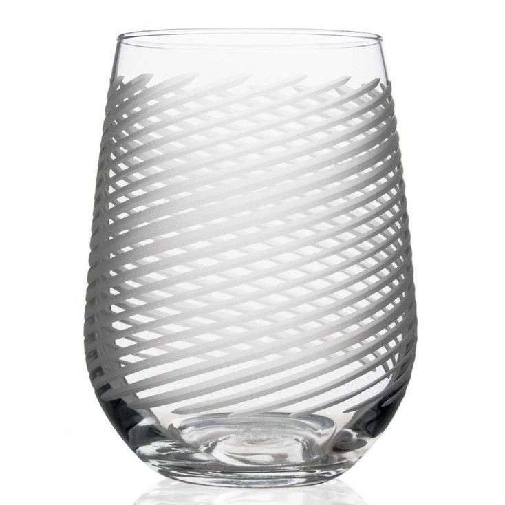 Cyclone Stemless Wine Glass Goblets, Set of 4