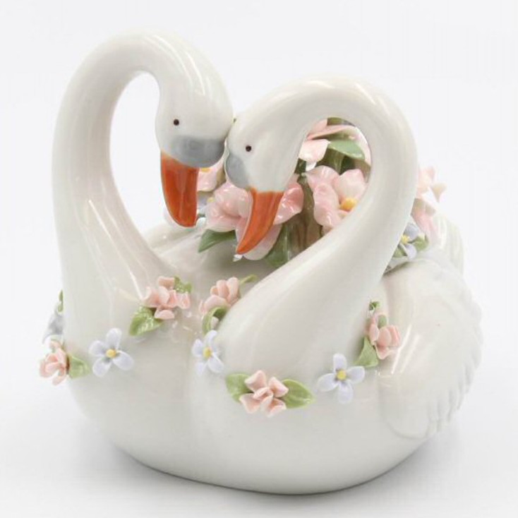 Two Swans Musical Music Box Sculpture