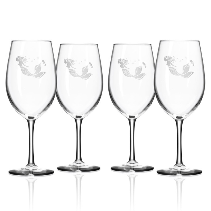 Mermaid All Purpose Wine Glasses, Set of 4
