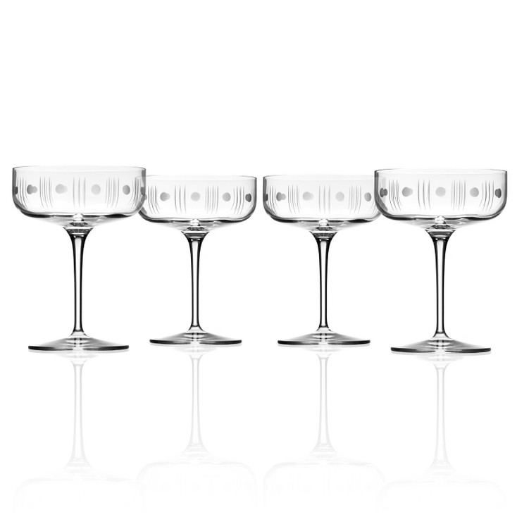 Mid Century Modern Coupe Champagne Saucer Glasses, Set of 4