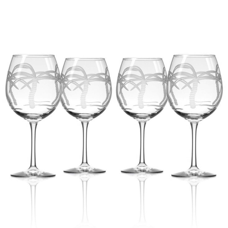 Palm Tree Balloon Red Wine Glasses, Set of 4