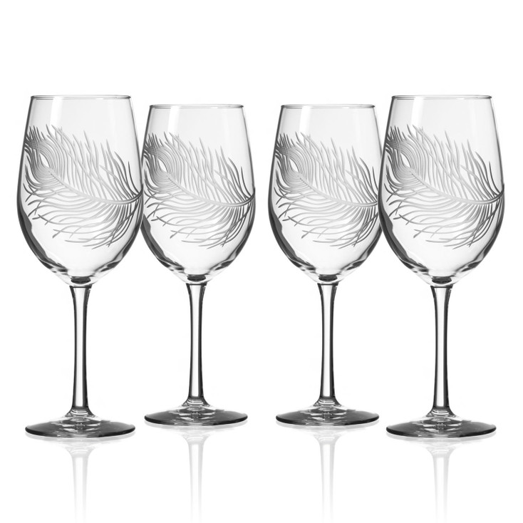 Peacock Bird Feather White Wine Glasses, Set of 4