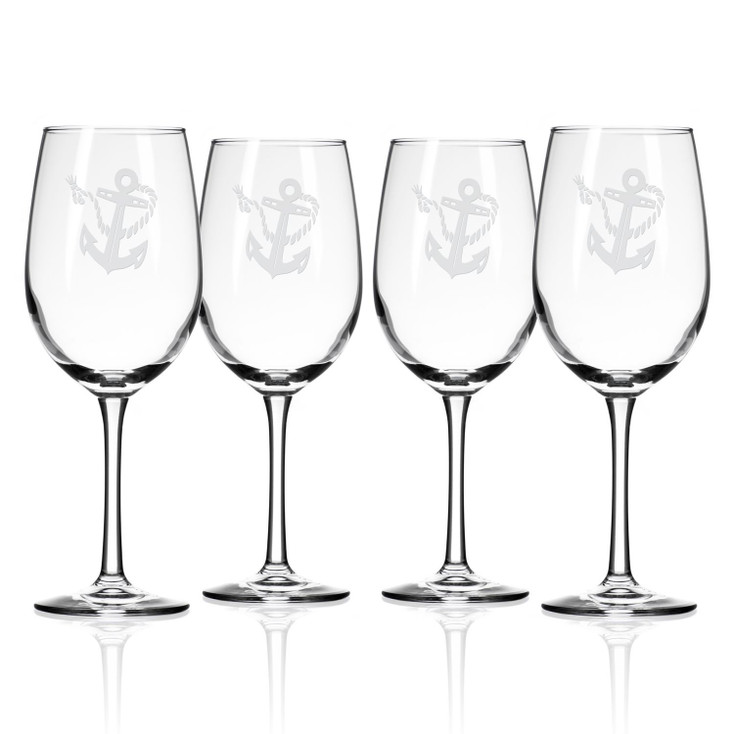 Rope and Anchor White Wine Glasses, Set of 4
