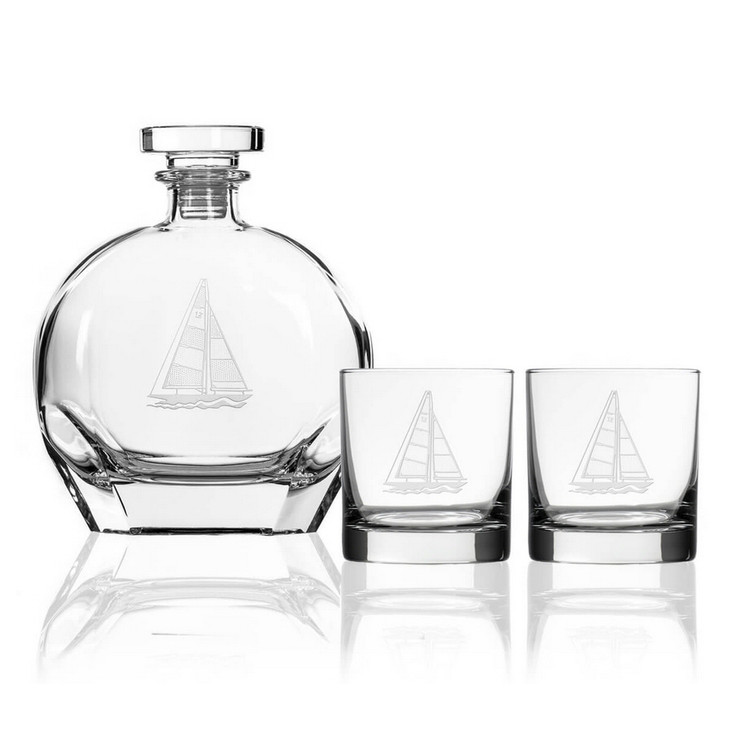 Sailboat Glass Whiskey Decanter and On the Rocks Glasses with Gift Box, Set of 3