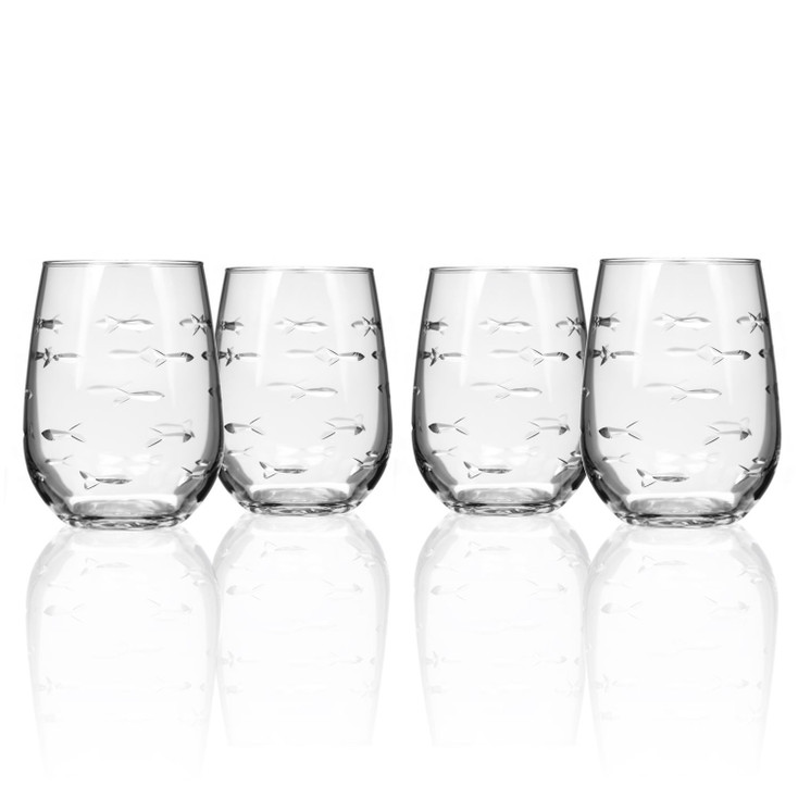 School of Fish Stemless Wine Glass Goblets, Set of 4