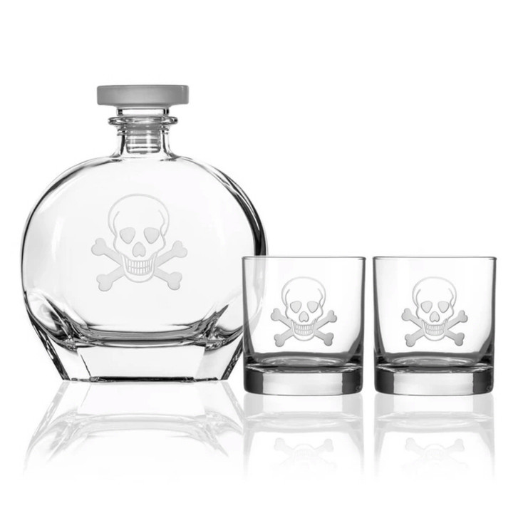 Skull and Bones Glass Whiskey Decanter and On the Rocks Glasses with Gift Box, Set of 3