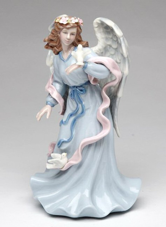 Angel Holding a Dove Bird Musical Music Box Sculpture