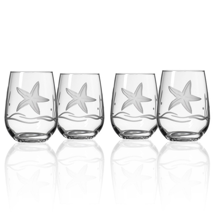 Starfish Stemless Wine Glass Goblets, Set of 4