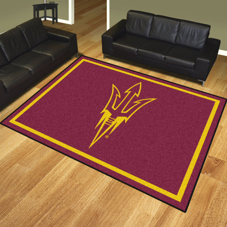8' x 10' Arizona State University Sparky Logo Maroon Rectangle Rug