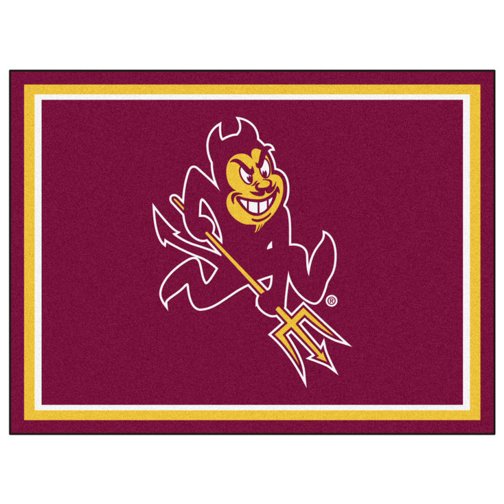 8' x 10' Arizona State University Pitchfork Logo Maroon Rectangle Rug