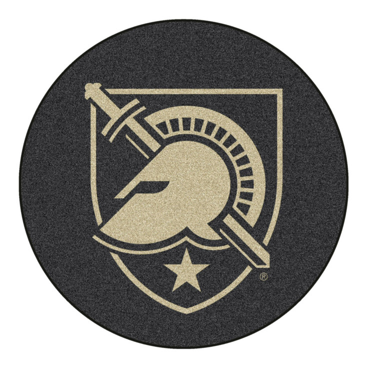 """27"""" U.S. Military Academy (Army) Puck Round Mat - """"Shield with Armour"""" Primary Logo"""