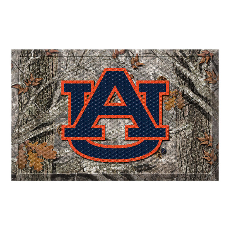 """19"""" x 30"""" Auburn University Rectangle Camo Scraper Mat - """"AU"""" Logo"""
