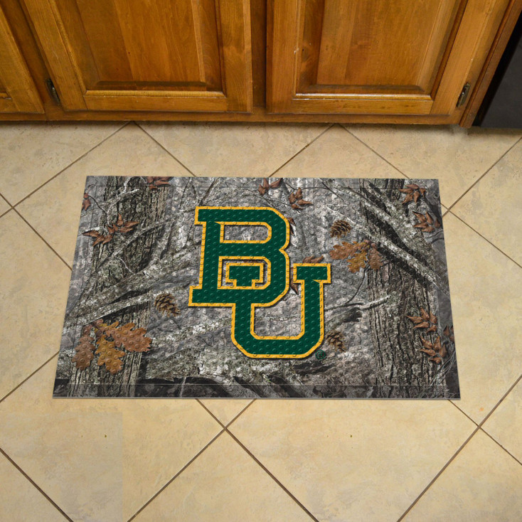"19"" x 30"" Baylor University Rectangle Camo Scraper Mat - ""BU"" Logo"