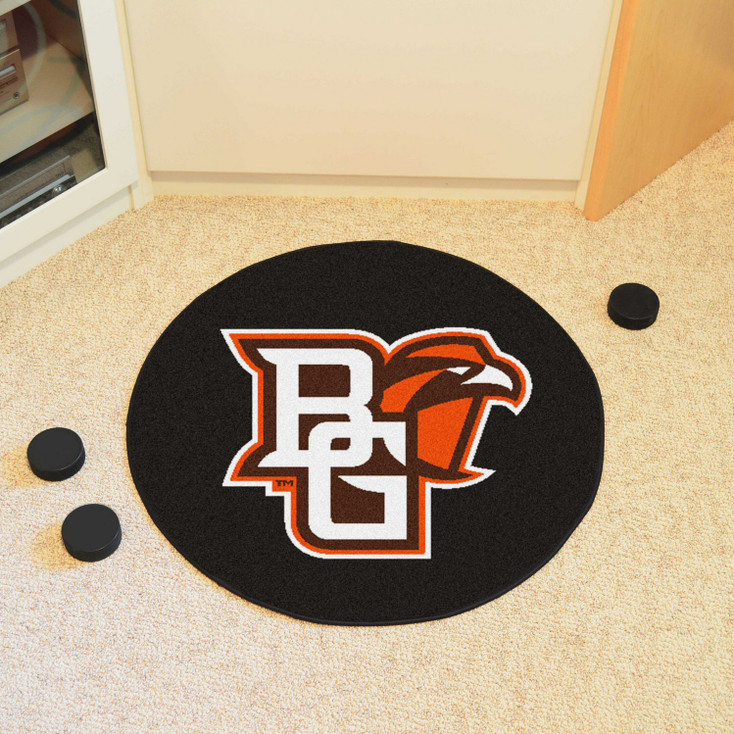 "27"" Bowling Green State University Puck Round Mat - ""BG & Falcon"" Logo"