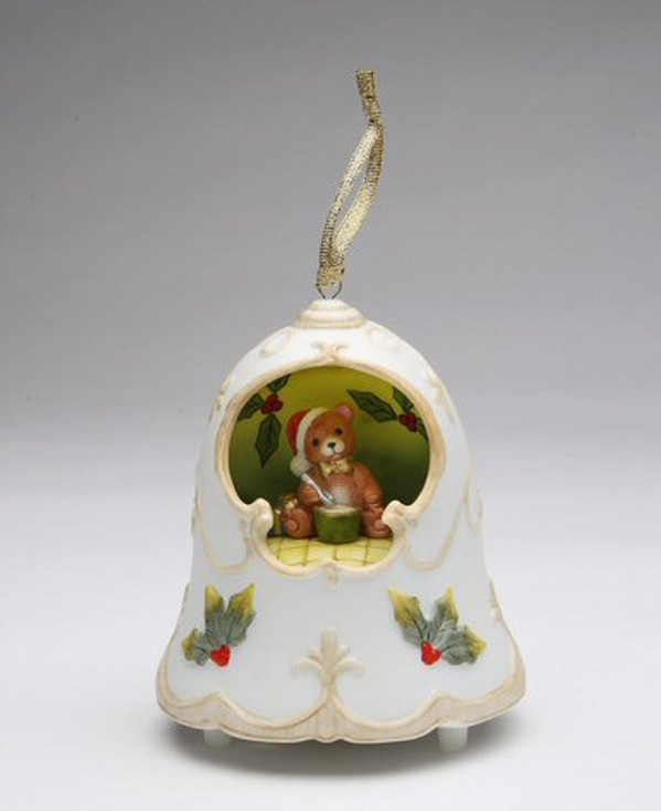 Christmas Bell with Teddy Bear Wearing a Santa Hat Musical Music Box