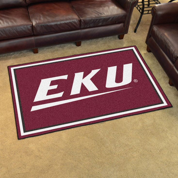4' x 6' Eastern Kentucky University Maroon Rectangle Rug