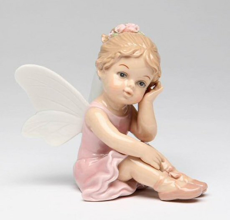 Ballerina Angel Thinking Porcelain Sculpture