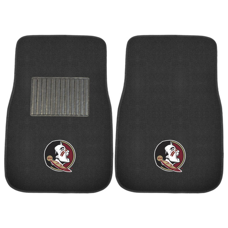Florida State University Embroidered Black Car Mat, Set of 2