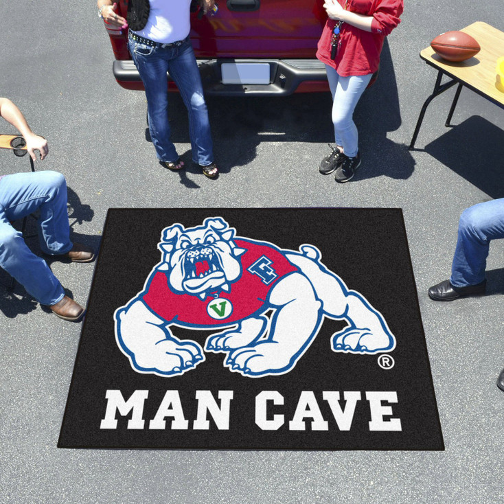 "59.5"" x 94.5"" Fresno State Black Man Cave Rectangle Ulti Mat"