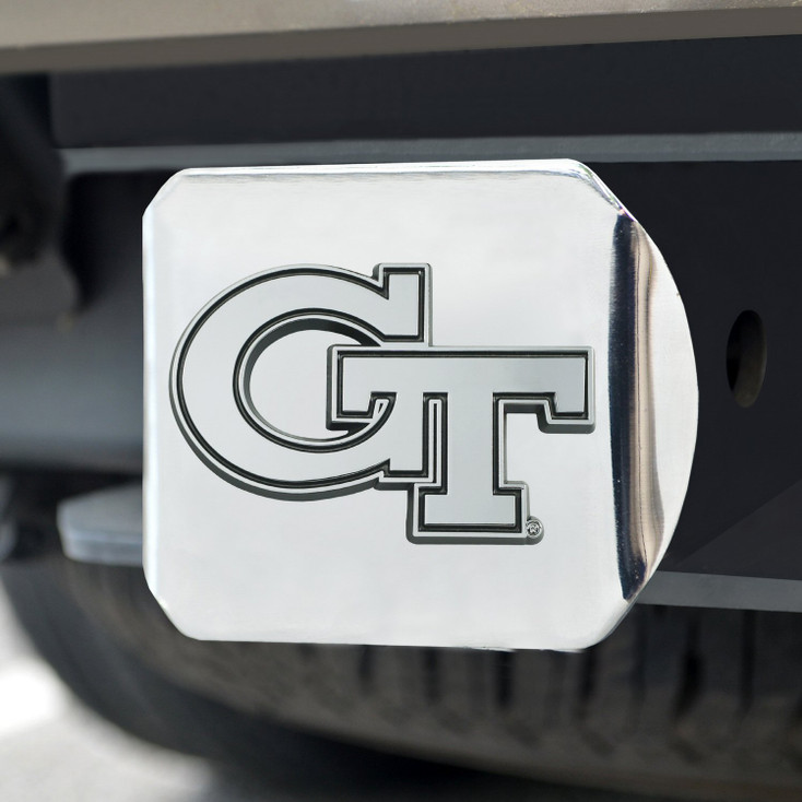 Georgia Tech Hitch Cover - Chrome on Chrome