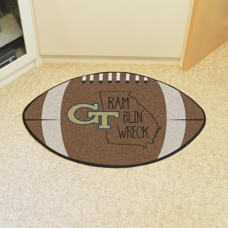 "20.5"" x 32.5"" Georgia Tech Southern Style Football Shape Mat"