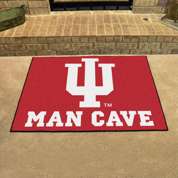 "33.75"" x 42.5"" Indiana University Man Cave All-Star Red Rectangle Mat"