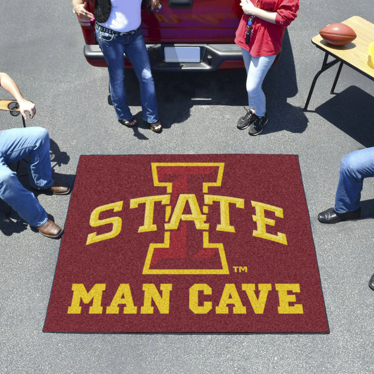 """59.5"""" x 71"""" Iowa State University Man Cave Tailgater Red Rectangle Mat"""