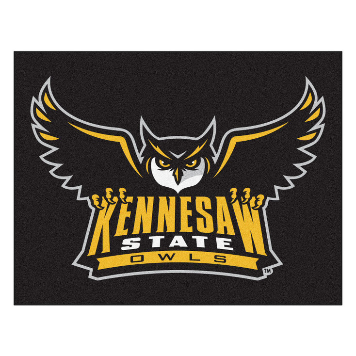 """33.75"""" x 42.5"""" Kennesaw State University Owls All Star Black Rectangle Mat"""
