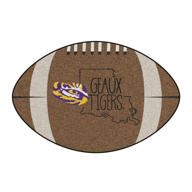 """20.5"""" x 32.5"""" Louisiana State University Southern Style Football Shape Mat"""
